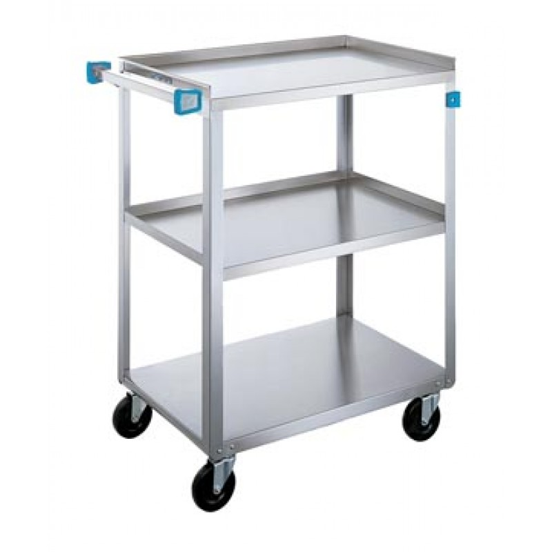 Utility Cart, (3) 15-1/2 in x 24 in Shelves, SS Angle Frame, 500 lb
