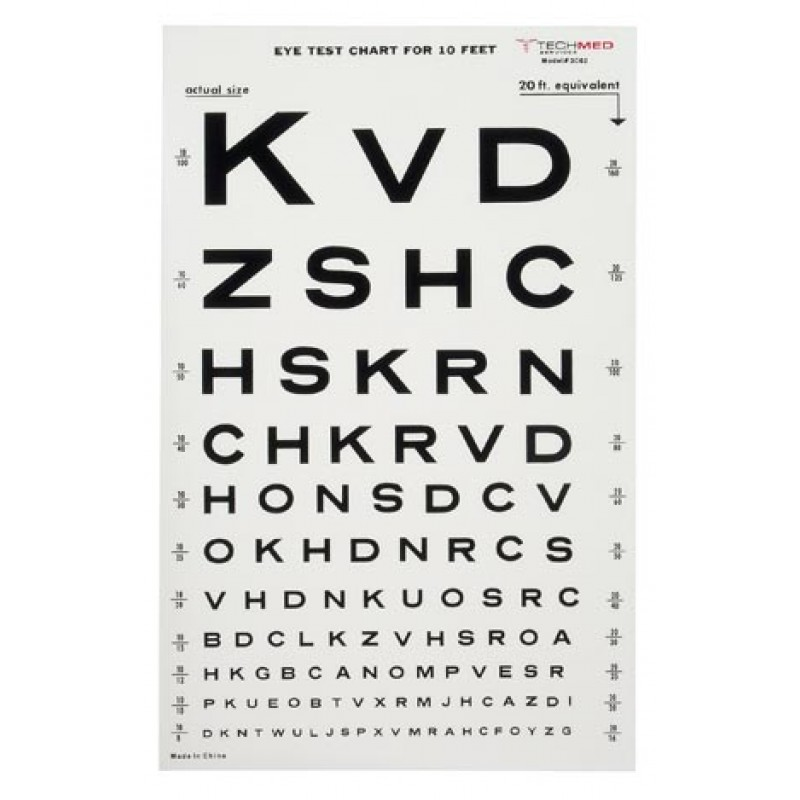 Tech-Med Illuminated Snellen Eye Test Chart 10 Ft 3062