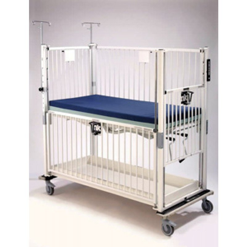 "Child Crib, 4 Side Release, Flat Pan, 30"" x 60"", Chrome"