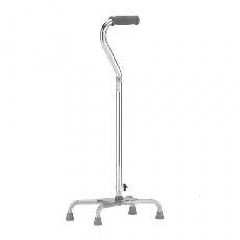 Quad Cane Offset With Strap- Large Base (Silver)