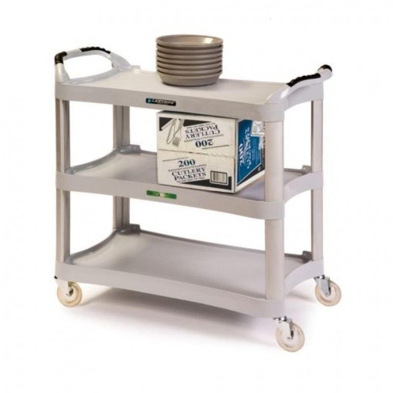 Three Shelf Plastic Utility Cart - 500 lb. Capacity, Light Gray