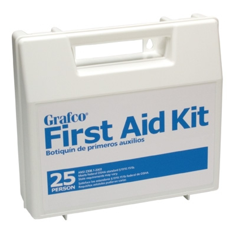 Stocked First Aid Kit 25 Person Plastic case with dividers