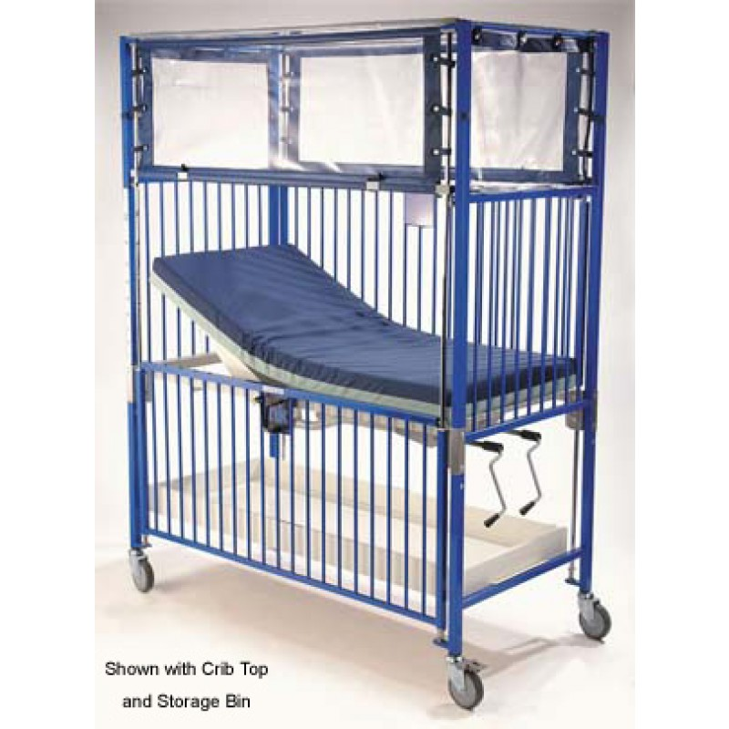 Infant Crib, 4 Side Release, Flat Pan, Trend, Chrome