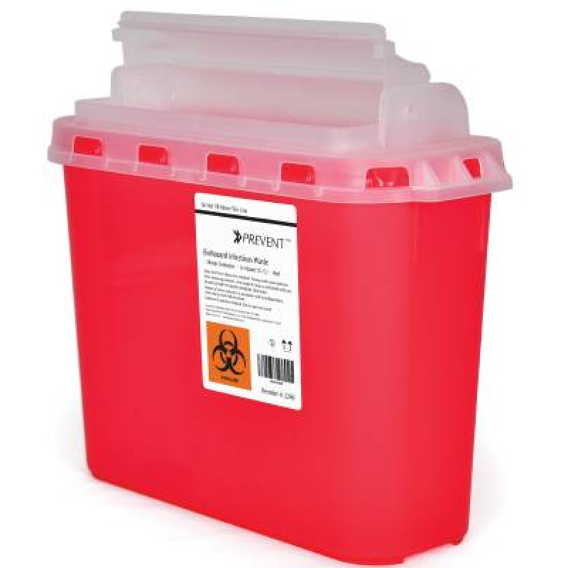 Sharps Container Prevent® 2-Piece 11H X 12W X 4.75D Inch 5.4 Quart Red Base Horizontal Entry Lid