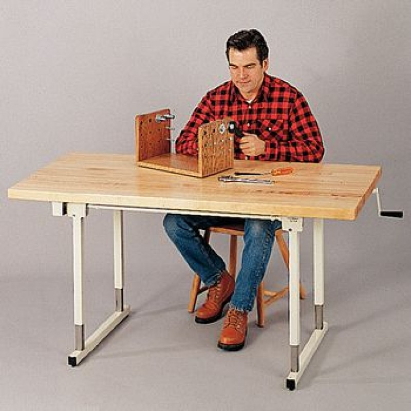 Manual Height-Adjustable Work Table with Space-Saver Tabletop