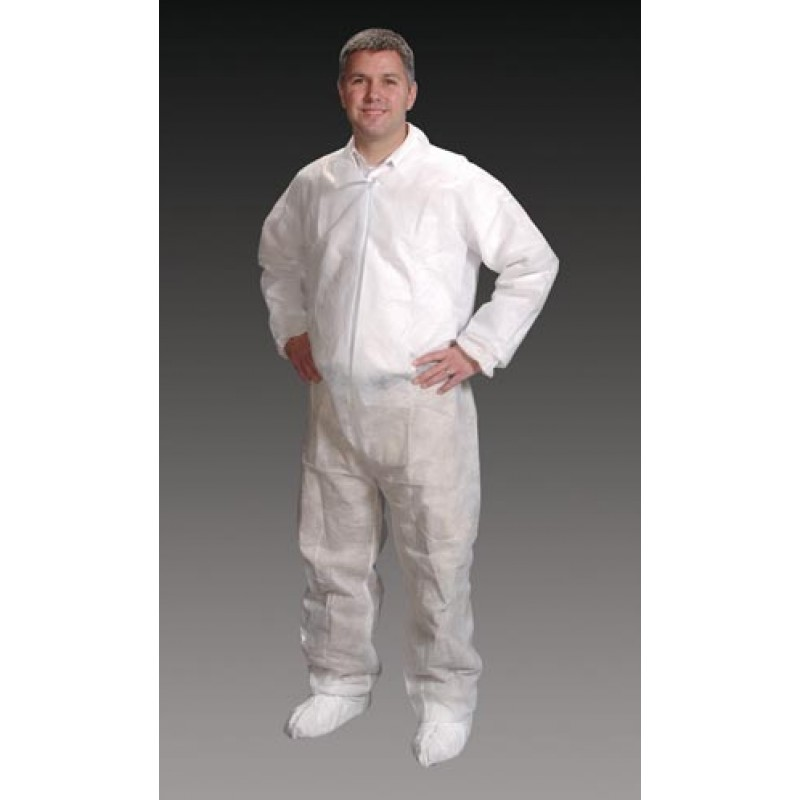 Coveralls, X-Large White, Elastic Wrist, Ankle & Back, 25/cs