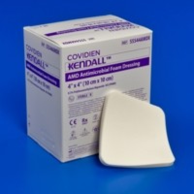 "Antimicrobial Foam Dressing 3½"" x 3"" Fenestrated"