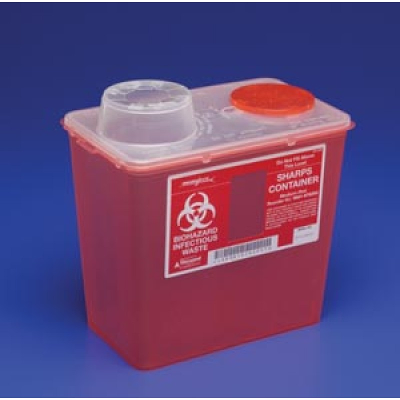 Sharps-A-Gator Sharps Container, Chimney Top, Red, 8 Quart
