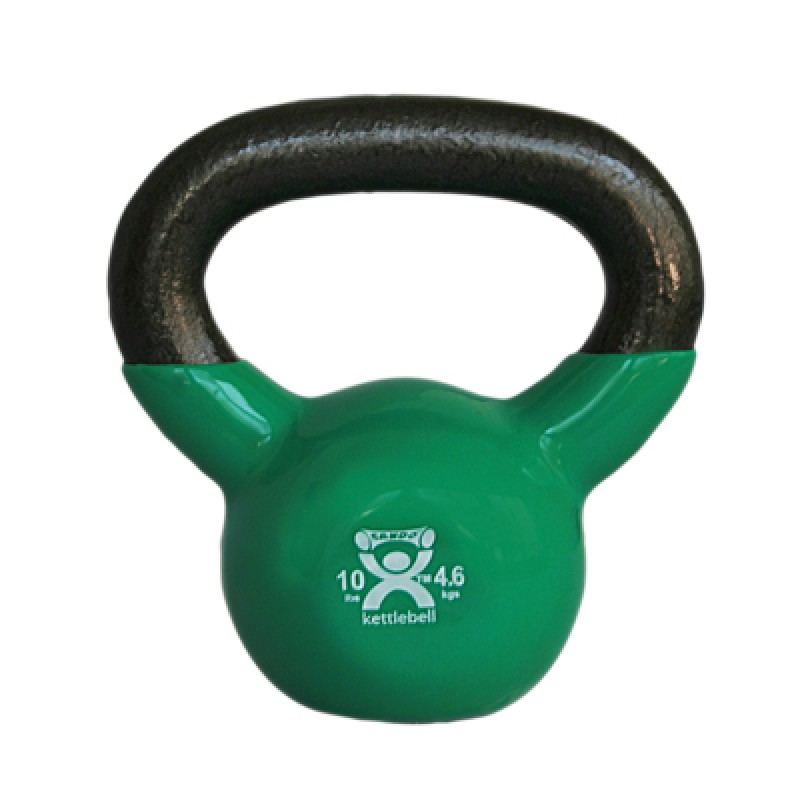 Cando kettle bell, 10 pound, vinyl-coated, green