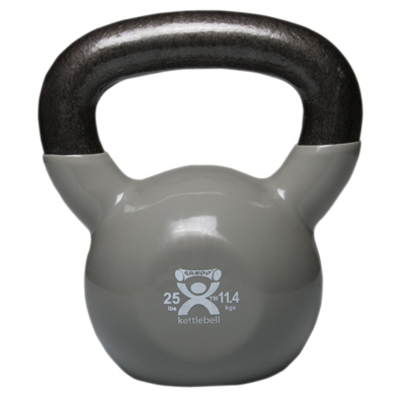 Cando kettle bell, 25 pound, vinyl-coated, silver
