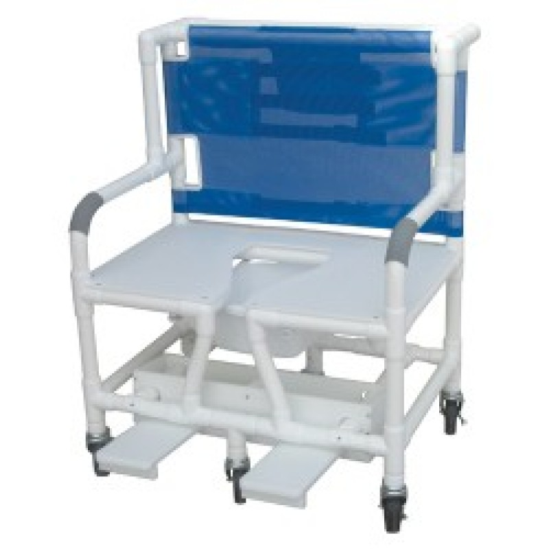 """26"""" PVC Bariatric Shower Commode Chair with Sliding Footrest"""