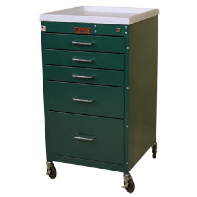 Five Drawer Mini Line Anesthesia Cart with Key Lock Standard Package