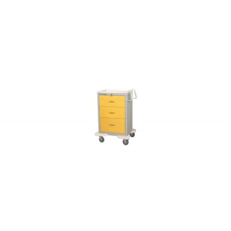 """Cart, 3 Drawer, Drawer Configuration: (2) 9"""", (1) 12"""", Key Lock, 46 1/2""""H x 25""""D x 32""""W, Solid Yellow"""