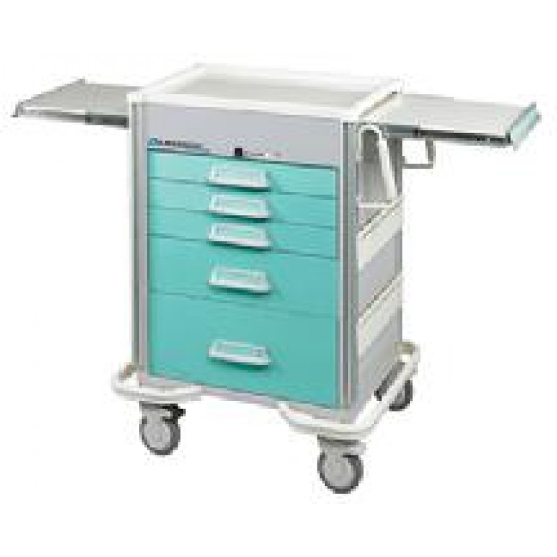 "Hybrid Cart, 5 Drawer, Drawer Configuration: (3) 3"", (1) 6"", (1) 9"", Electronic Key Pad Lock, 40 5/8""H x 25""D x 32""W, Two Tone Blue"