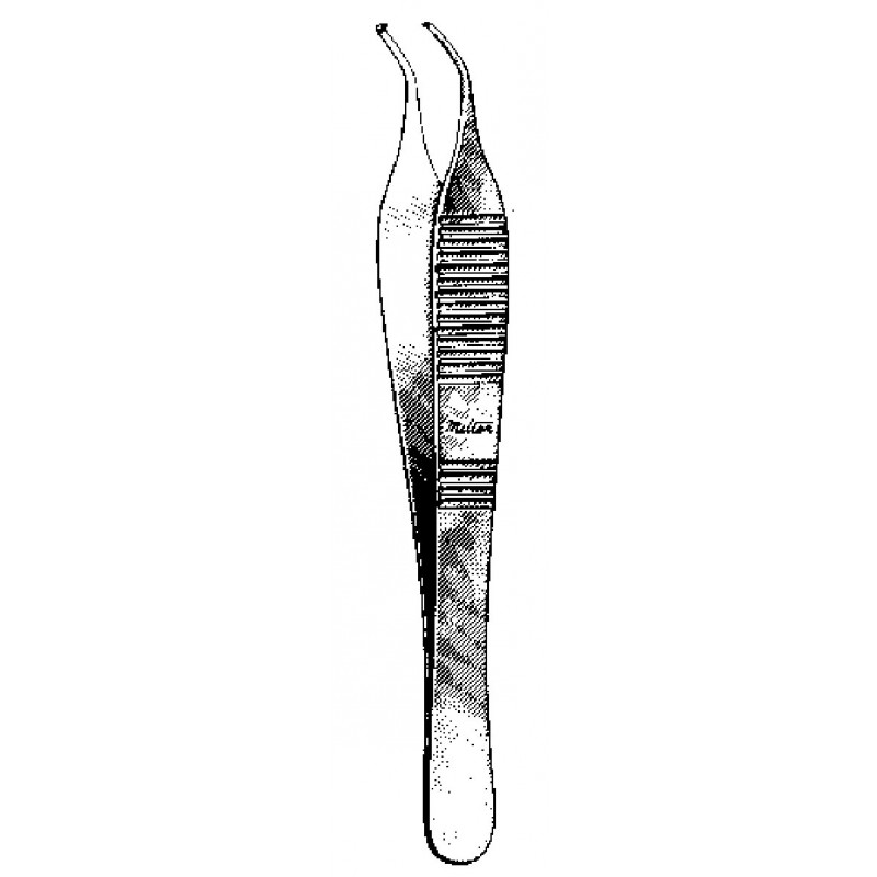 """Tissue Forceps 4¾"""" 1x2 Teeth Angled Delicate"""