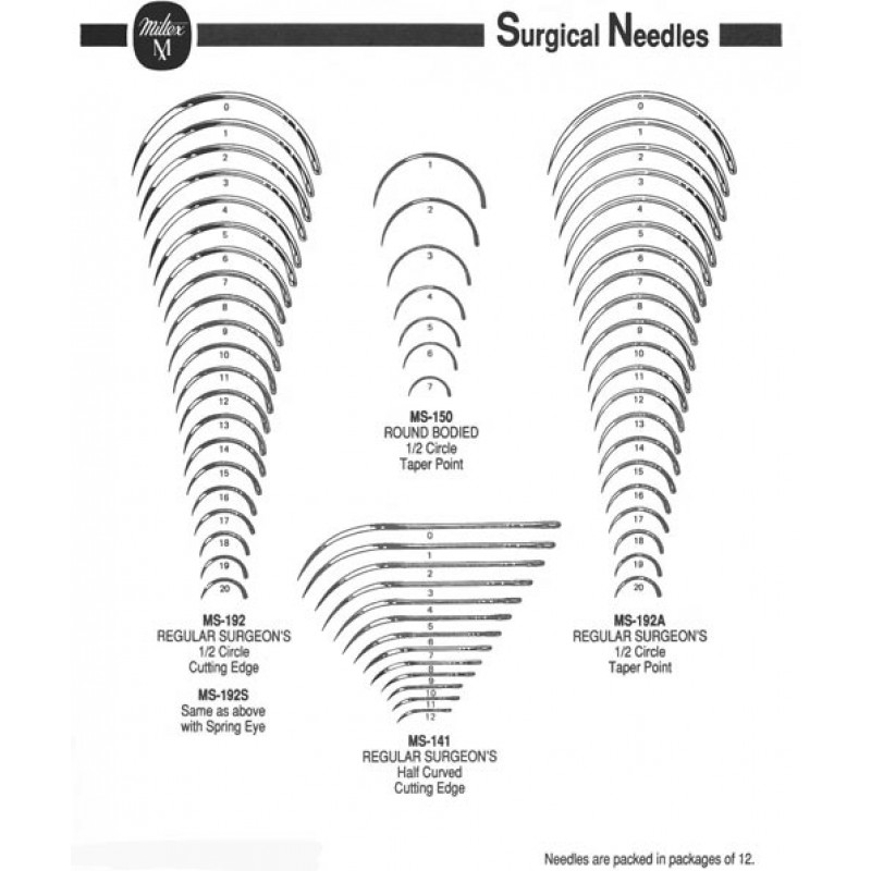 Surgeons Needle, Size 9,  1/2 Circle Taper Point, 12/pkg