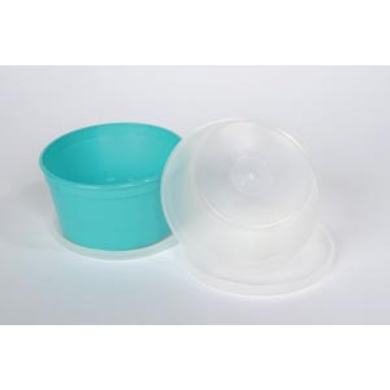 Denture Cup, Turquoise Base, Gray Lid, 250/cs