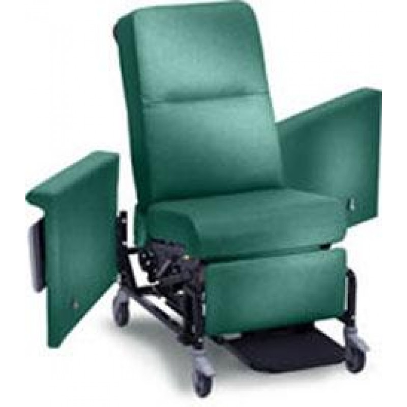 "Medical Recliner/Transporter with 5"" casters, side table, push bar and foot rest, 220 lbs"