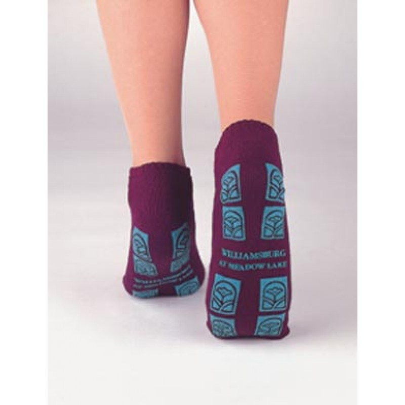 Adult Slipper Socks, Light Blue, 48 pr/bx (custom imprinted)