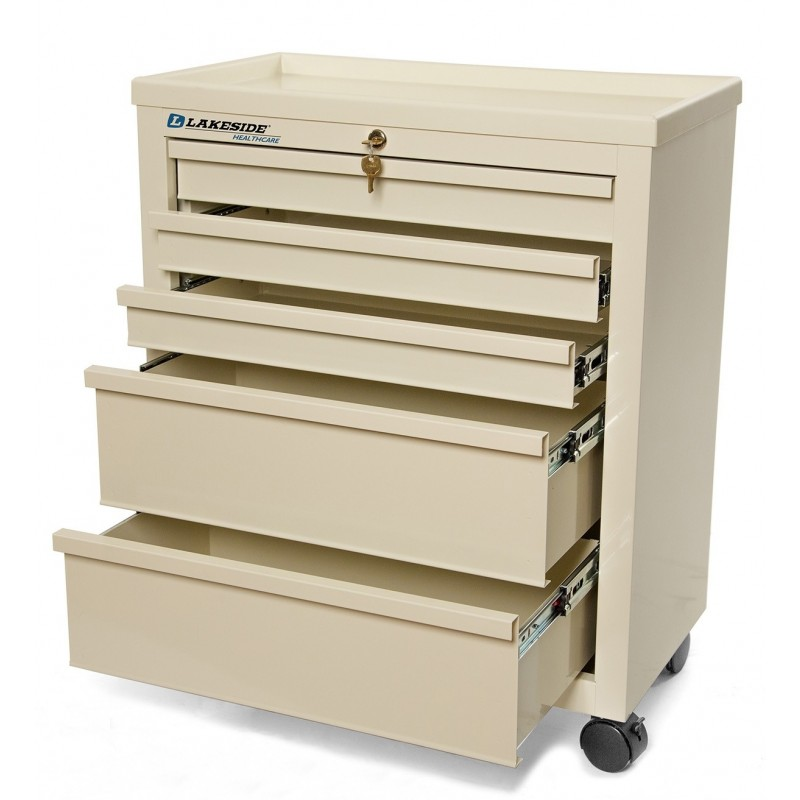 Classic 5 Drawer Medical Bedside Cart with Key Lock
