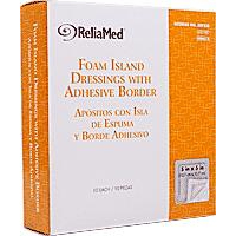 "Foam Island Dressing with Adhesive Border, Sterile, 5"" x 5"","