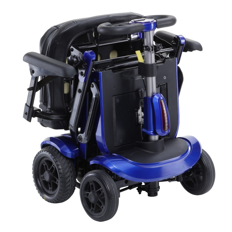 ZooMe Flex Ultra Compact Folding Travel 4 Wheel Scooter Blue