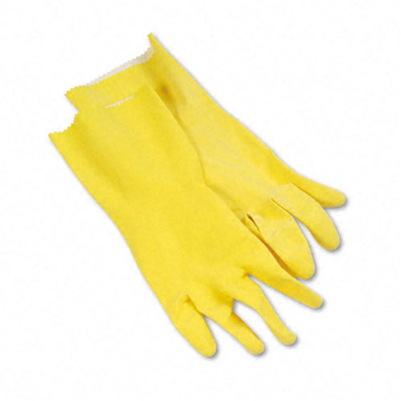 """Flock-Lined Latex Cleaning Gloves 12"""" Long"""