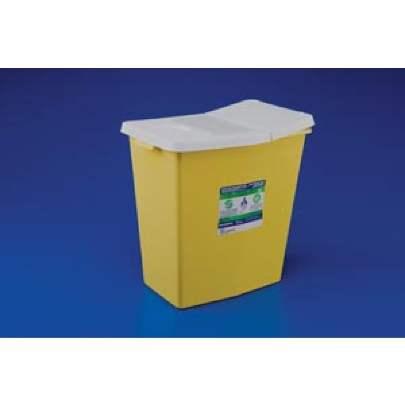 """Sharps Container 8 Gal Yellow Hinged Lid 17 3/4""""H x 11""""D x 15 1/25""""W - Each"""