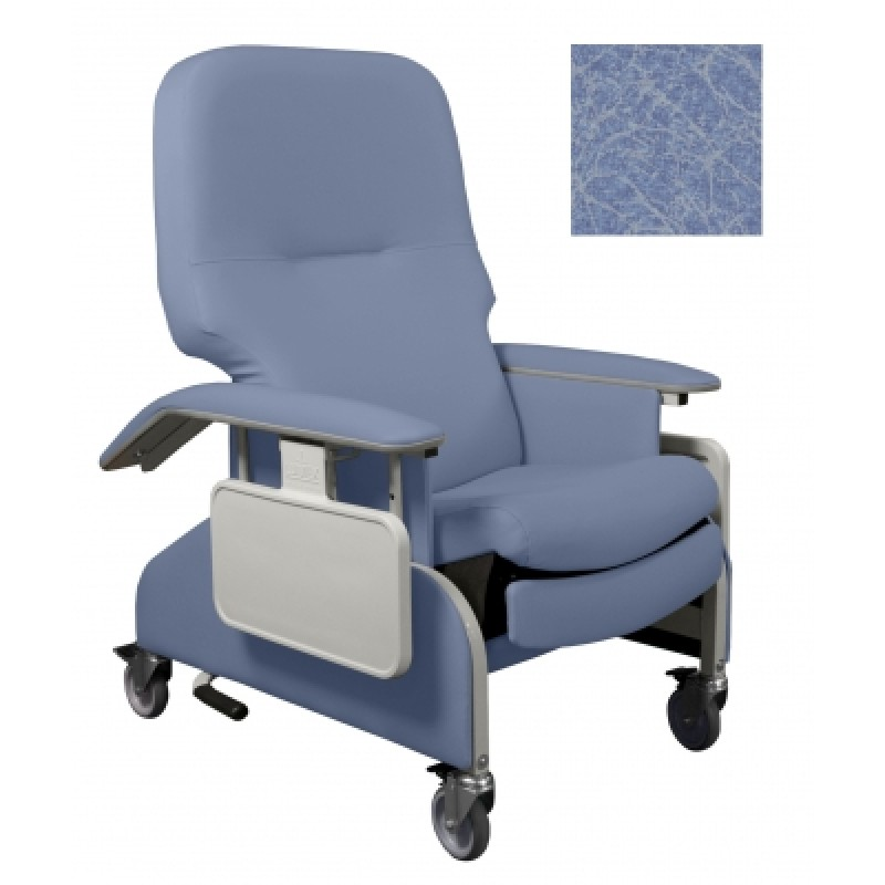 Deluxe Clinical Care Recliner With Drop Arms - Ice Blue