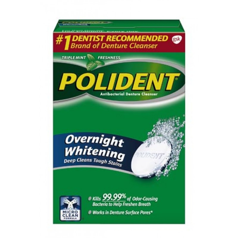 Polident® Overnight Whitening Antibacterial Cleanser 84 tablets/box 6  boxes/cs GSK# 03447A