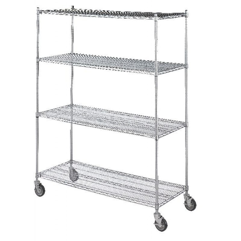 "18""D x 36""L  x 72""H Linen Cart with Four Wire Shelves"