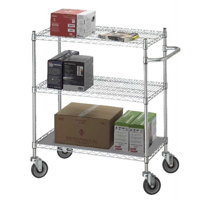 """18"""" x 36"""" x 42"""" Adjustable Utility Cart with Solid Top/Bottom Shelf"""