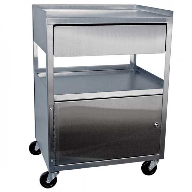 Three Shelf Stainless Steel Cart with Drawer Cabinet