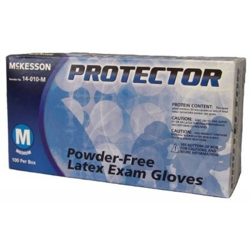 Exam Glove, Protector Nonsterile Powder Free Latex, Textured Fingertips Ivory Contains Latex, Medium