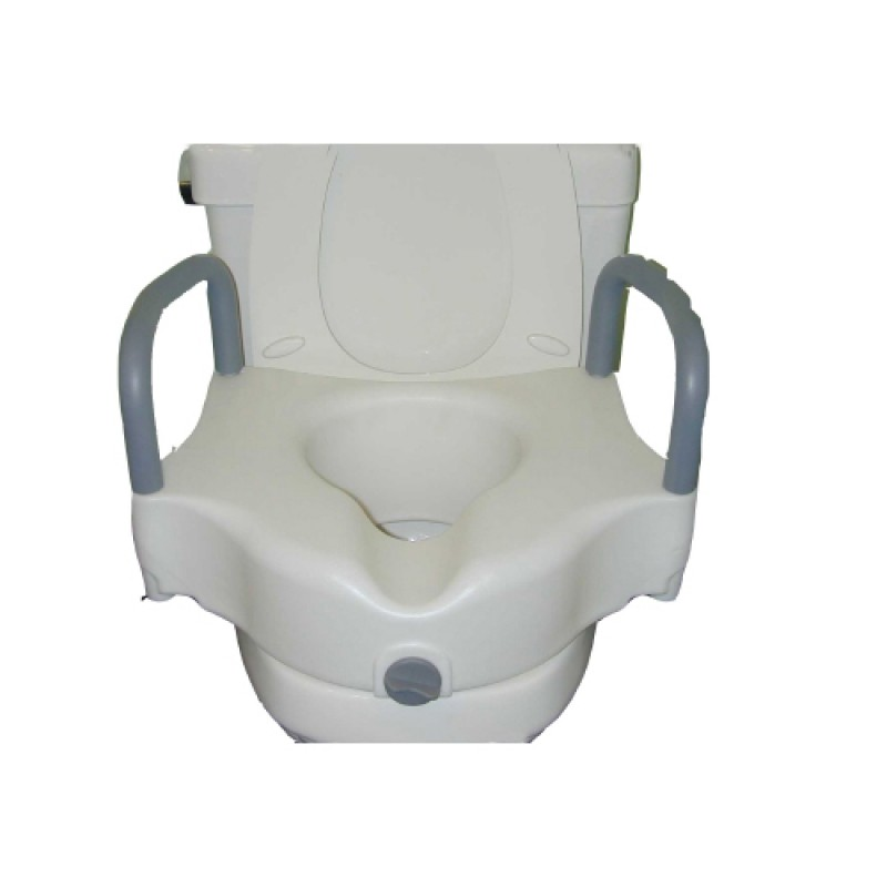 Raised Toilet Seat with Armrests  White 250 lbs.