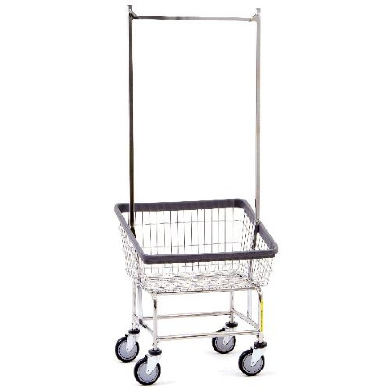Front Load Laundry Cart with Double Pole Rack, 2 1/4 Bushel