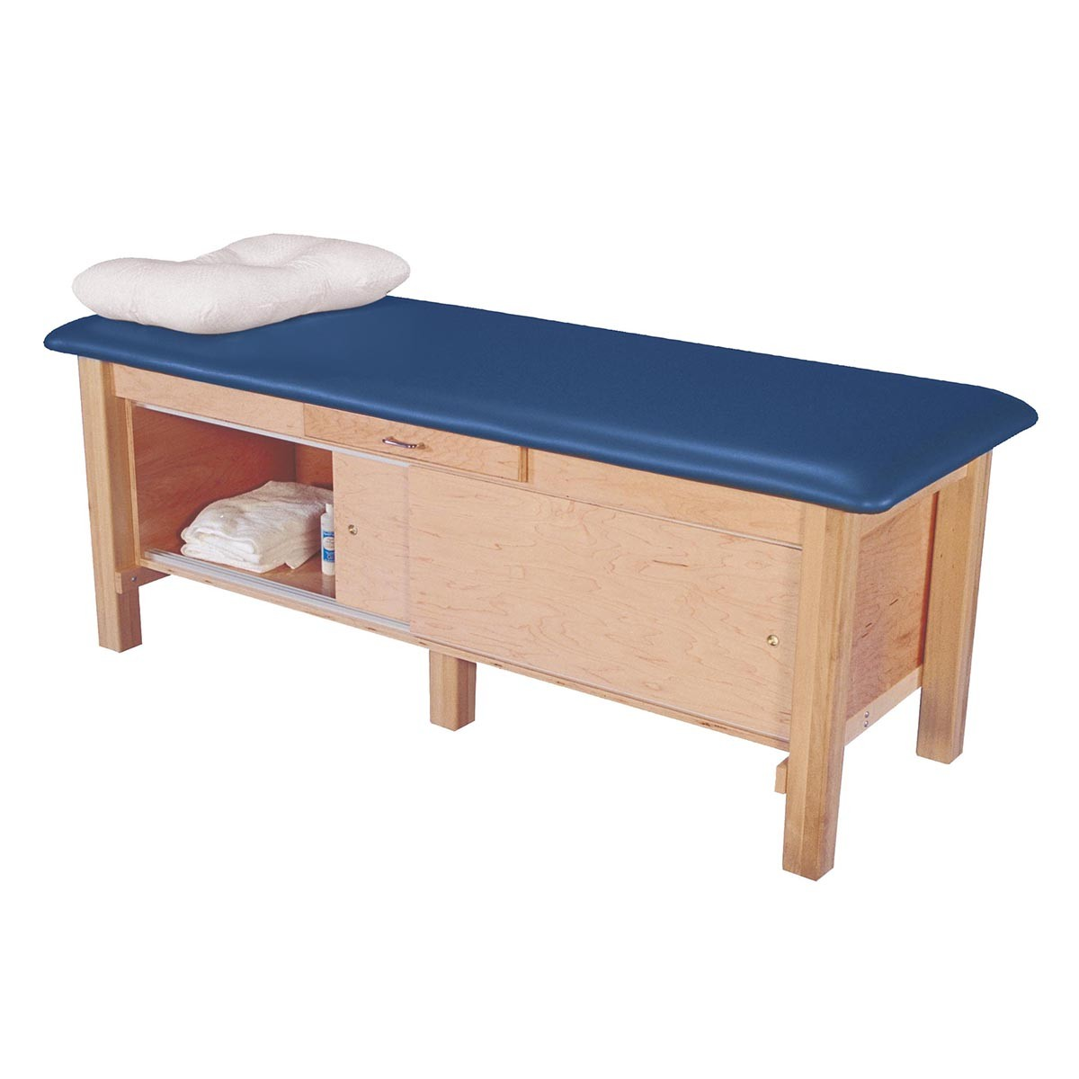 Maple Hardwood Treatment Table With Enclosed Cabinet