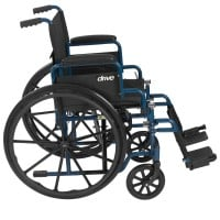 Blue Streak Wheelchair with Flip Back Desk Arms Swing Away Footrests 18