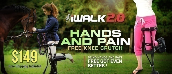 iWalk 2.0 Hands and Pain Free Knee Crutch.  Being hands and pain free got even better! $149. Free Shipping Included.