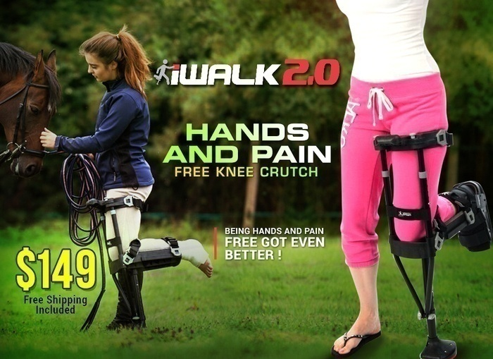 iWalk 2.0. Hands and Pain Free Knee Crutch. Being hands and pain free got even better! $149. Free shipping included.